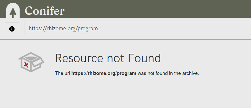 The Conifer error message for web resources that are not contained in a collection.